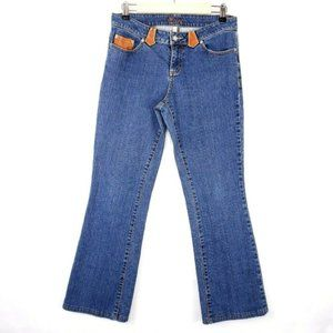 Cache High Rise Boot Cut Jeans W/ Leather Accents